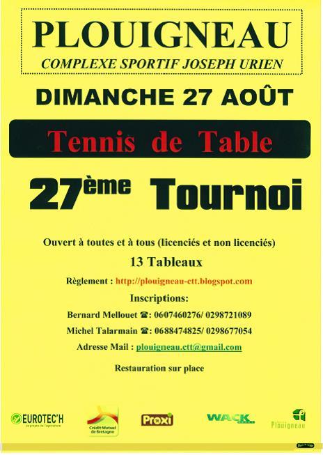 Tournoi d 39 t de plouigneau ligue de bretagne de tennis de table - Ligue de bretagne de tennis de table ...